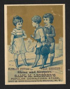 VICTORIAN TRADE CARD Lederers Shoes & Slipper Blue Tint Two Boys & Girl Talking