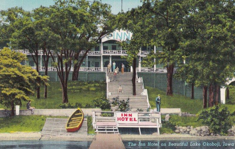 IOWA, 1930-1940's; The Inn Hotel On Beautiful Lake Okoboji