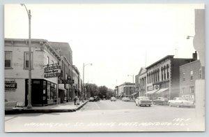 Mendota IL~Washington Street~Goslin Walgreen Drug~Burke's Hobbies~1950s RPPC