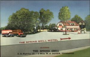 2 Mi West of Dover Tenn TN Spring Grill Gas Station Old Trucks LINEN Postcard