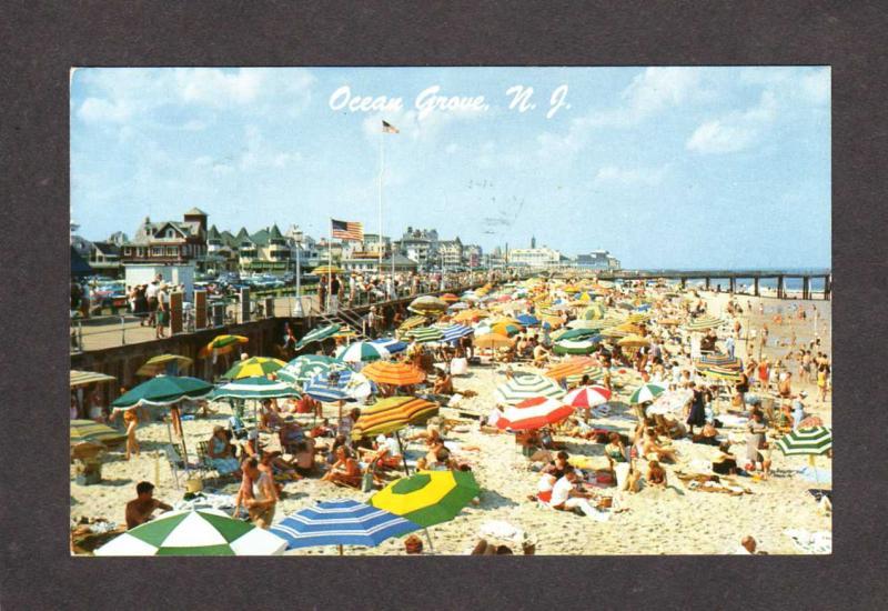NJ Ocean City Beach Hotels Boardwalk Bathers Umbrella New Jersey Postcard