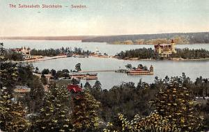 Sweden Old Vintage Antique Post Card Saltseabath Stockholm Unused