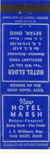Early Bryan, Ohio/OH Match Cover, Hotel Marsh & Hotel Elder