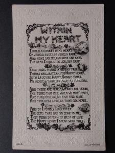 Verse & Poem: WITHIN MY HEART, I Hold A Caskett...... c1909 by J.Beagles & Co