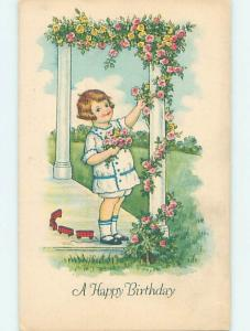 Pre-Linen BOY STOPS PLAYING WITH TOY PULL TRAIN TO PICK ROSE FLOWERS HJ4260