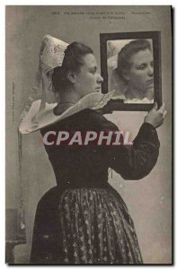 Old Postcard Folklore A last glance & # 39oeil has the cap collar Rospoden Study