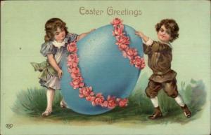 Easter - Children Rolling Giant Blue Egg c1910 Postcard