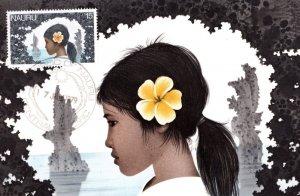 Head of a Nauruan Girl David Gentleman Nauru First Day Cover Postcard