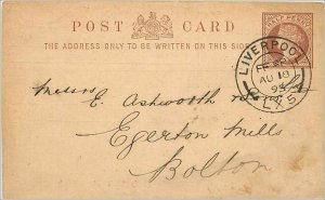 Entier Postal Stationery 1 / 2p Liverpool for Bolton 1893