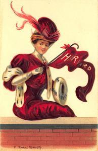 College Girls Harvard University Massachusetts F. Earl Christy Embossed Postcard