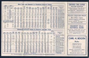 LACKAWANNA Railroad Timetable Hoboken NJ to Gladstone c1952