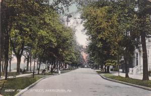 HARRISBURG, Pennsylvania; North Front Street, Tree-lined Road, PU-1909
