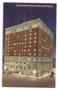 Penn Harris Hotel Harrisburg PA 1941 Curteich Linen