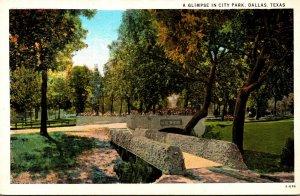 Texas Dallas Glimpse In City Park Curteich