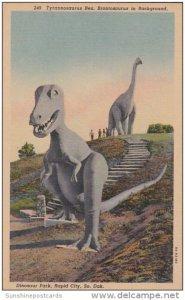 South Dakota Rapid City Tyrannosaurus Rex Brontosaurus In Background Dinosaur...