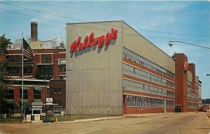 Battle Creek MI~Kellogg Company Factory~Visitors Welcome~Barb Wire Fence~1960s