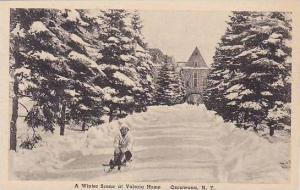New York Oscawana Valeria Home A Winter Scene Albertype