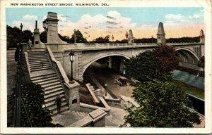 Vtg 1920s New Washington Street Bridge Wilmington Delaware DE Postcard
