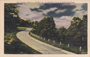 Sunset Scene U S Highway No 74 Crossing The Blue The Blue Ridge Mountains Ash...
