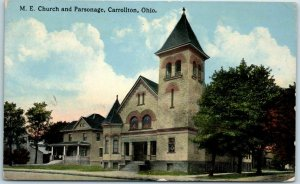 Carrollton, Ohio Postcard M.E. Church & Parsonage Street View 1917 Cancel