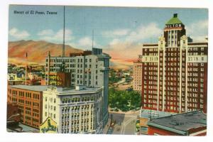 El Paso, Texas to El Dorado, Kansas 1944 used linen Postcard, Heart of El Paso