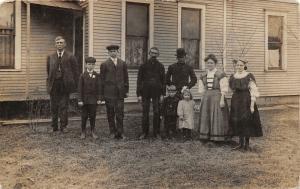 East Toledo Ohio~Family Picture Outside~Emma Sick in Bed When Taken~1908 RPPC