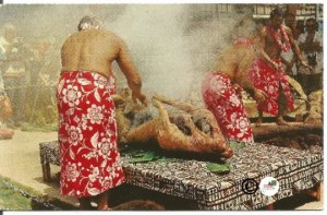 Vintage Hawaii Postcard, Luau Pig Feast Nani Li'i National Color Card