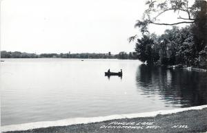 Oconomowoc WI Real Photo Postcard~Trees Reflected on Fowler Lake~Rowboaters~1945