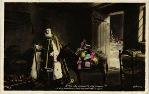 PC CPA SANTA CLAUS CHRISTMAS ST.NICOLAS WITH DONKEY & GIFTS PHOTO PC. (b15034)