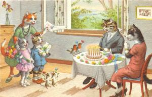 F60/ Alfred Mainzer Dressed Cats Postcard c1940s Birthday Party Cake 14