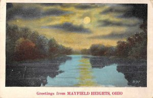 Mayfield Heights Ohio Greetings Night View Vintage Postcard JE359563
