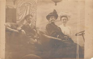 Two Women and a Child in a Car Real Photo Unused