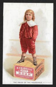 VICTORIAN TRADE CARD Babbitts Soap Pride of Household Fancy Dressed Boy Soap Box