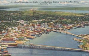 Florida Jacksonville Aerial View Showing Highway & Railroad Bridges Over St J...