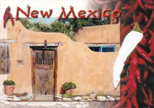 New Mexico Santa Fe Old Adobe House and Chili Peppers