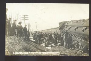 RPPC GLADBROOK IOWA RAILROAD TRAIN WRECK CARS 1910 REAL PHOTO POSTCARD