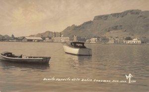 RPPC Bonito Aspecto de la Bahia Guaymas, Sonora, Mexico Boats ca 1940s Postcard