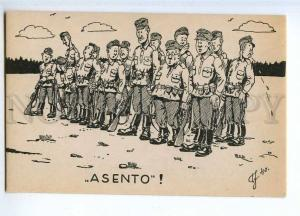 190596 WWII FINLAND Caricature soldiers Vintage postcard