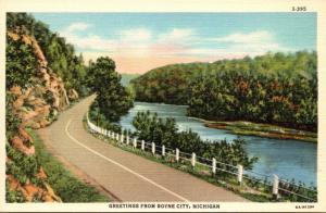 Michigan Greetings From Boyne City Curteich
