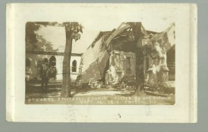 Parsons KANSAS RPPC 1916 DESTROYED CHURCH Ruins EXPLOSION nr Independence Oswego