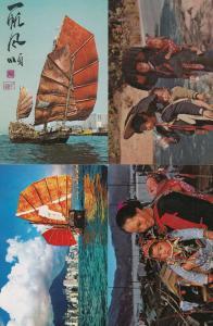 Hong Kong Boat Women & Children Boats 4x Postcard s