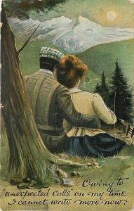 Man Cuddles With Woman~View Sunset Over Mountain~Unexpected Calls~Cannot Write