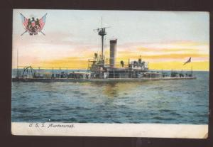 UNITED STATES NAVY BATTLESHIP USS MIANTONOMAH MILITARY SHIP VINTAGE POSTCARD