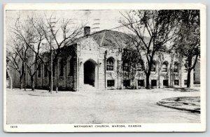 Marion Kansas~Methodist Church Corner~Fire Hydrant~Bare Trees~1930 B&W Postcard