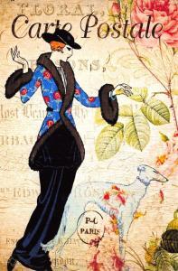 Postcard French Vintage Shabby Chic Style Lady Fashion, Dress, Dog, Floral 89J