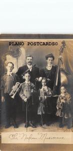 THE NADEAU FAMILY MUSICIANS- EARLY 1900'S RPPC REAL PHOTO POSTCARD