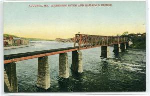 Railroad Bridge Kennebec River Augusta Maine 1910c postcard