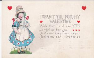 I want you for my Valentine, Girl wearing bonnet crying, red hearts, PU-1922