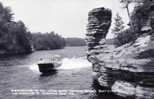 RPPC Photo Postcard, Sightseeing Upper Dells, Captain Soma's Boat Line WI E03