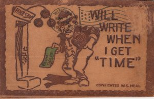 LEATHER ; Will Write when i get time, Pawn Shop Comic , 1906